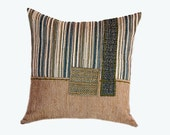 "Beige green Striped  Decorative fabric Throw pillow case, fits 18""x18"" insert, Cushion case, Toss case"