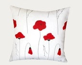 """Decorative Pillow Case, White Linen Throw pillow case with Red Poppies, Designer fabric, size 17""""x17"""", Toss pillow case, Cushion case"""