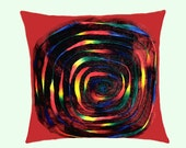 """Decorative Pillow case, Red Throw pillow cover with multicolored Spiral accent, fits 18""""x18"""" insert, Cushion cover, Toss pillow cover."""