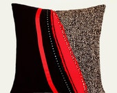 "Abstract Red-Black-Grey Decorative Throw pillow case, fits 18""x18"" insert, Toss pillow case, Cushion case"