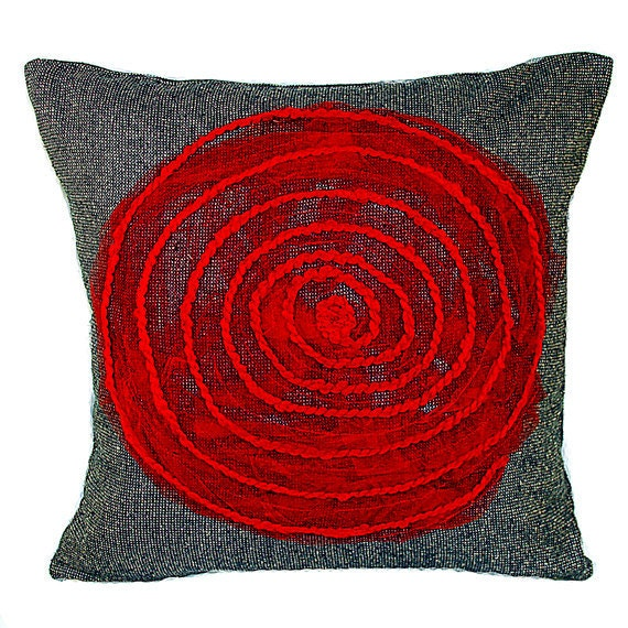Decorative Red Spiral Throw Pillow Cover Blue Gray Red