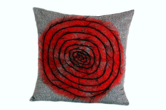 """Decorative Spiral design Throw pillow cover, grey, red, black, fits 18""""x18"""" insert, Toss pillow case, Cushion case"""