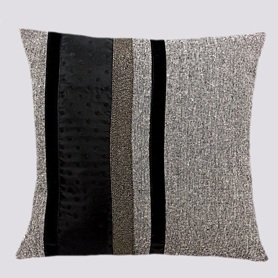 decorative throw pillow cover black grey and gold by. Black Bedroom Furniture Sets. Home Design Ideas