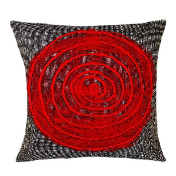 """Decorative Blue grey Throw pillow cover with Red Spiral accent, fits 18""""x18"""" insert, Toss pillow cover, Cushion cover"""