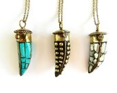 Tibetan Tusk Horn Necklace - Mother of Pearl, Turquoise Mosaic, Black With Brass Studs, Celebrity Boho Fashion, Ready to Ship