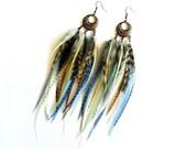 "Feather Earrings ""Pebble Beach"" Turquoise Aqua, Periwinkle Blue Purple, Natural, Brown, White, Dream Catcher, Beachy, Tribal Summer Fashion"