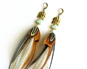 """RESERVED for Gail - Feather Earrings """"Concrete Angel"""" Natural, White, Brown, Black, Chevron Accents, Tribal Summer Fashion Trend"""