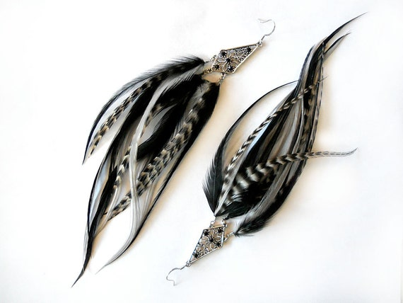 "Black & White Feather Earrings ""Web of Dreams"" New Year's Eve Party Feather Earrings, Premium Feathers, Swarovski Crystals, Ready to Ship"