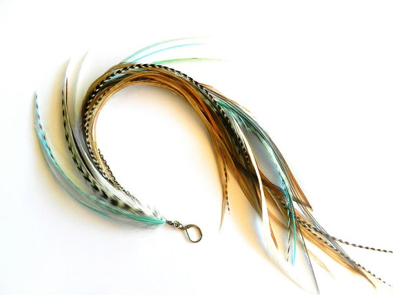 """RESERVED for Jenn - Long Single Feather Chain Earring & Extension Clip """"Ocean Goddess"""" Turquoise, Aqua, Brown, White, Grizzly, Wear Two Ways"""