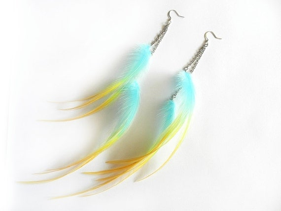 """Long Feather Chain Earrings """"Distractions"""" Turquoise Aqua, Yellow, Orange, Ombre, Bohemian Elegance, Spring Fashion Trend, Ready to Ship"""
