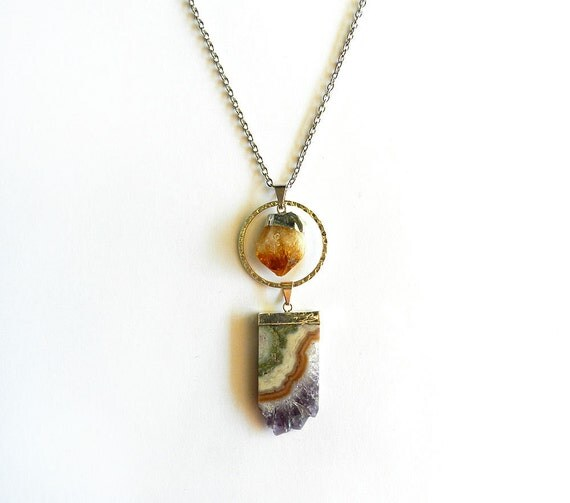 Amethyst Slice & Citrine Point Necklace - Dipped in Silver, Raw, Rough, Purple, Orange, Healing, Simple, Modern, Tribal Summer Fashion
