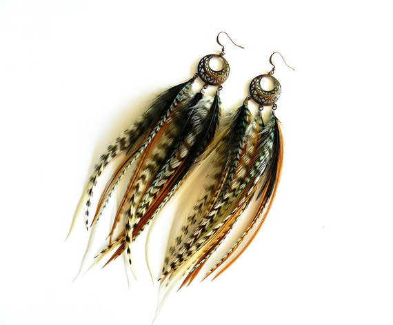 """Long Feather Earrings """"Tribal Ground"""" Natural, Brown, White, Black, Turquoise, Striped, Dream Catcher, Hippie, Gypsy, Spring Fashion"""