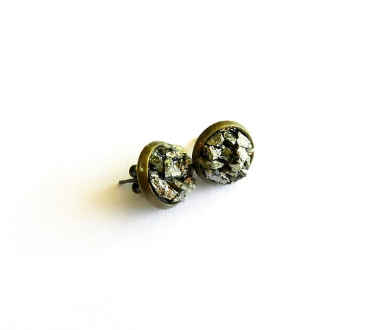 "Pyrite ""Fool's Gold"" Cluster Earrings, Raw, Rough, Sparkly, Natural Druzy Chunk, Gemstone, Modern, Tribal Summer Fashion Trend"