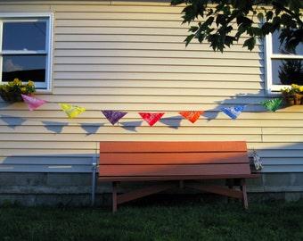 Colorful bandana bunting.  Pennants.  Decoration.
