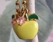 Golden Yellow Enamel Apple & Swarovshi Crystal gold tone Earrings. eco friendly Upcycled OOAK