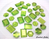 BUY 100 Get 100 FREE - Edible Lime Colored Sugar Jewels - Any Color