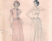 Gorgeous Vintage 1950s Butterick 6417 MIdriff Nightgown and Bed Jacket Sewing Pattern B34