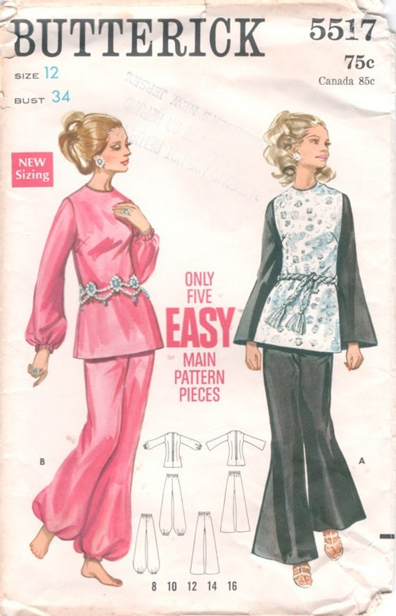 Groovy Easy Vintage 1960s Butterick 5517 Tunic Top and Flared or Harem Pants Sewing Pattern B34