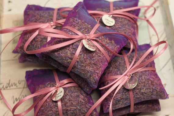 French Lavender Sachets in Sheer Purple Organza with satin ribbon and thank you metal tag
