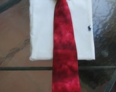 Holiday Red Tie Dye Tie in 100% Charmeuse silk. Perfect for Christmas Holidays