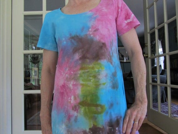 Tie Dye All Cotton T Shirt Dress with Open neck and short sleeves with bursts of Turquoise, Fuchsia, Green and Brown