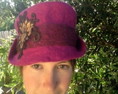 BeautiFULL deep pink/ magenta merino wool felt hat with golden lotus flower