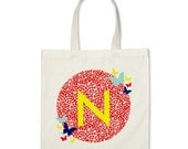 Girl Personalized Tote Bag - Signature Initial Butterflies Tote Bag in Red
