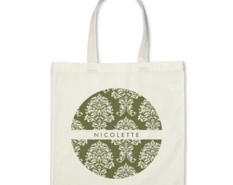 Personalized Damask Tote in Olive Green