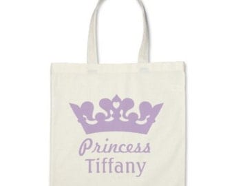 Kid Personalized Princess Tiara with Name Tote Bag or Party Favor in Lavender