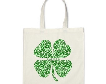 Personalized Tote Bag - Shamrock Signature Personalized Tote Bag or St. Patrick's Day Party Favor in Green