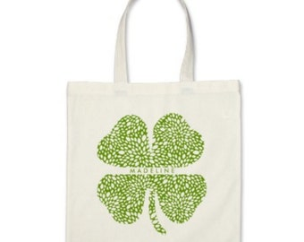 Personalized Tote Bag - Shamrock Signature Personalized Tote Bag or St. Patrick's Day Party Favor in Pickle Green