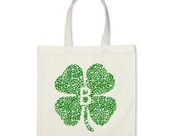 Personalized Tote Bag - Shamrock Signature Personalized Initial Tote Bag or St. Patrick's Day Party Favor in Green