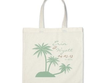 Beach Gift or Wedding Welcome Tote Bag - Palm Tree Personalized Tote in Mint Green/Brown Sand