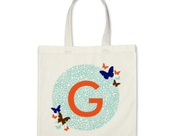 Girl Personalized Tote Bag - Signature Initial Butterflies Tote Bag in Light Blue