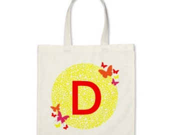 Girl Personalized Tote Bag - Signature Initial Butterflies Tote Bag in ...