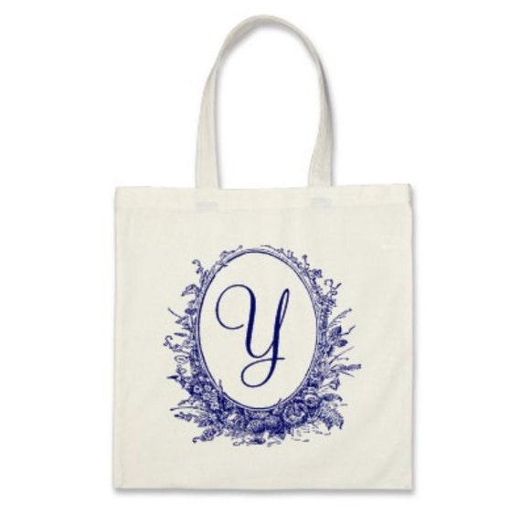 Personalized Monogram Floral Frame Tote Bag in Navy Blue - Bridesmaid Tote Bag or Gift Tote Bag