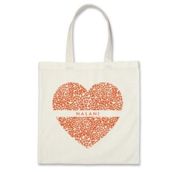 7 Bridesmaids Signature Personalized Heart Totes in Orange