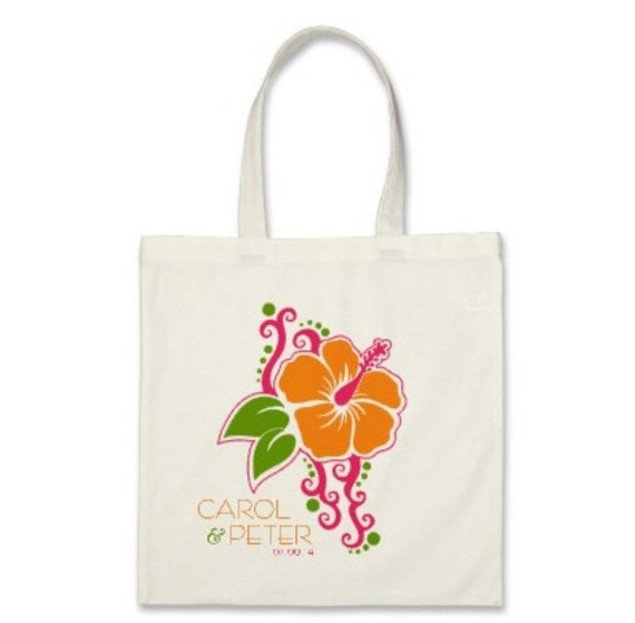 Wedding Welcome Tote Bag or OOT Tote Bag - Personalized Destination Wedding Hibiscus Flower Tote Bag in Light Orange