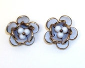 Vintage Gold and White Flower Clip On Earrings