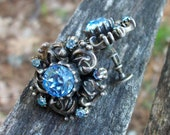 Vintage Coro Screwback Earrings With Blue Rhinestones and Ornate Design