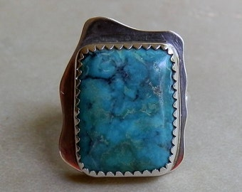 Vintage Navajo Sterling Silver and Turquoise Eccletic Ring From Southwest
