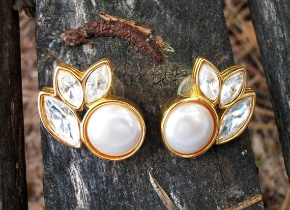 Vintage Salo Earrings With Faux Pearl and Rhinestone Leaves