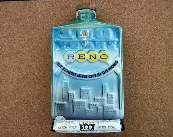 Vintage Jim Beam Commemorative 100 Years Reno Nevada Whiskey Bottle