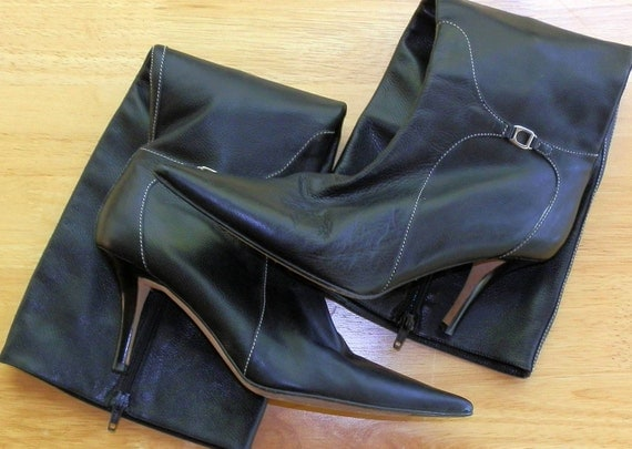 Vintage Cole Haan Black Leather Boots Made In Italy Women Size 8 B