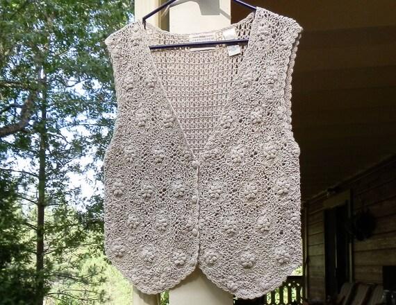 Vintage Vest by Yarnworks Handknit Womens Medium Ecru and Faux Pearl