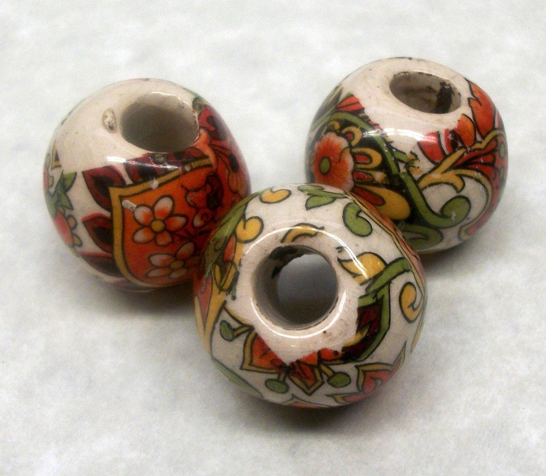 Ceramic Bead Beads: Vintage 1970's Handmade Ceramic Beads