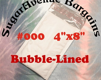 "50 Size 000 4 x 8 Shipping Poly Bubble Mailers Bags Envelopes NEW 4""x8"" **FREE SHIPPING"