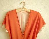RESERVED FOR MELISSA Orange Cream Soda Dress - 70s Orange and Cream Wrap Dress