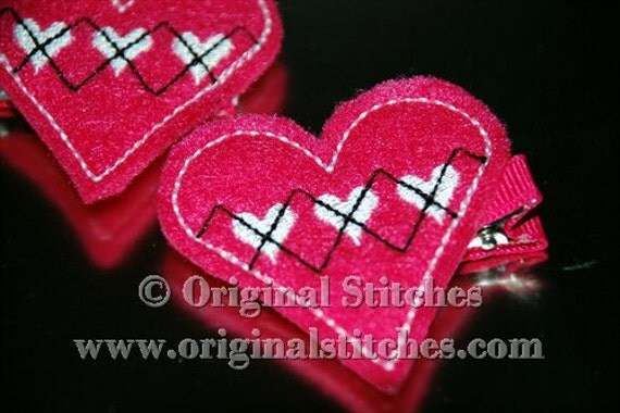 In The Hoop Argyle Heart Feltie Applique and Embroidery Digitized Digital Design File