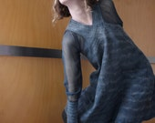 Green mini dress / tunic, maternity wear, nuno felted, natural designer clothing, eco friendly clothing, funky women's clothing